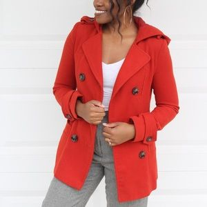 Forever21 Copper Casual Hooded Pea Coat